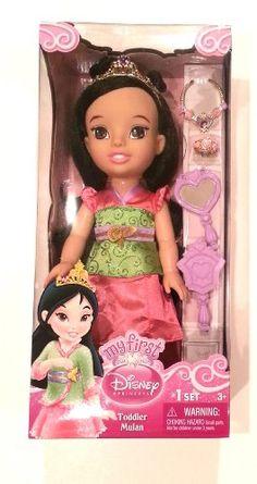 My First Disney Princess Toddler Mulan 15 inch Doll and Accessories Disney Princess Toddler Dolls, My First Disney Princess, Disney Barbie Dolls, Disney Animator Doll, Baby Princess, Toys For Girls, Kids Toys, Girl Dolls, Baby Dolls