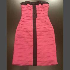 Betsey Johnson pink black formal dress New without tag!!! Super cute hot pink dress. Betsey Johnson Dresses Strapless