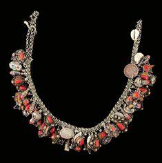 Africa | Silver, coral, enamel and coin bracelet.  Yeni Beni craftsmanship.  Kabylie, Algeria | 600 € ~ sold
