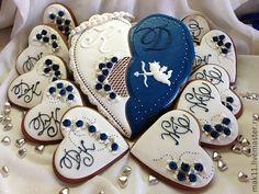 """Купить Пряник """"Свадебное предложение"""" - свадьба, синий, пряник, пряники купить, белый, имбирное печенье"""