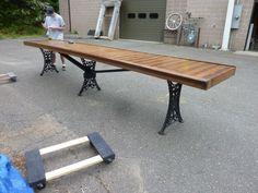 "15' 4"" Long Table Repurposed Bar Counter Top w Cast Iron Legs 29 5""w x 33 5H   eBay"
