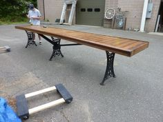"15' 4"" Long Table - Repurposed Bar - Counter Top W/cast Iron Legs 29.5""w X 33.5h"