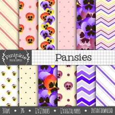 Floral Digital Paper Flower Digital Scrapbook Paper by Pininkie, $4.00