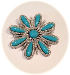 Vintage Sterling Silver Turquoise and Pave by WOWTHATSBEAUTIFUL