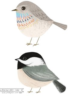 Sweet little birdies by Neiko Art bird_neikoart. Art Paintings, Watercolor Paintings, Indian Paintings, Watercolor Portraits, Abstract Paintings, Art And Illustration, Illustrations, Images Kawaii, Bird Drawings