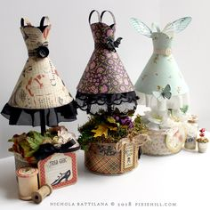 Graphic 45 Paper Fairy Frocks with Tutorial - Nichola Battilana 3d Paper Crafts, Diy And Crafts, Crafts For Kids, Altered Tins, Altered Art, Heart Crafts, Vintage Crafts, Vintage Dolls, Paper Tags