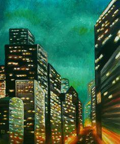 Painting «City Lights» by Nadine Lière, Acrylic on canvas board, 50 x 60 cm, 2014, http://grenadine-art.eu