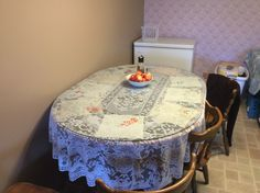 Lace and handkerchief under class for a table cloth.