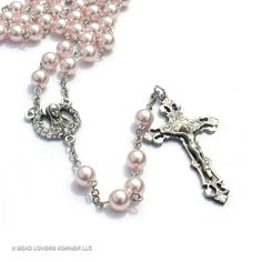 Catholic Rosary Pink Pearls St Therese by beadloverskorner on Etsy