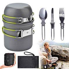 STKJ Kit De Batterie De Cuisine De Camping Ensemble De Cuisine Extérieure avec Bouilloire Marmite Et Casserole De Camping Légère pour 2 À 3 Personnes en Camping