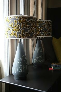 IDEA: turn an ugly lamp at a second hand store into a gorgeous lamp! Use fabric, trim, and chalkboard paint!