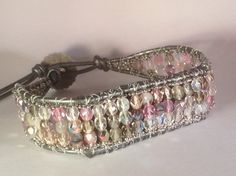 Fitbit Flex Pewter and pink leather wrap by MantovaniDesigns