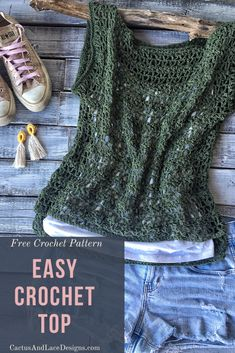 Learn how to make a lacy crochet top with this beginner friendly free pattern Crochet Cardigan Pattern, Crochet Shirt, Easy Crochet Patterns, Crochet Designs, Crochet Summer Tops, Crochet Tops, Mode Crochet, Crochet Geek, Beginner Crochet