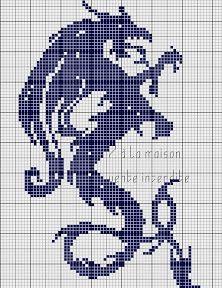 grfree cross stitch monochrome dragon (site in French) Cross Stitch Charts, Cross Stitch Designs, Cross Stitch Patterns, Cross Stitching, Cross Stitch Embroidery, Embroidery Patterns, Crochet Dragon, Crochet Cross, Crochet Pattern