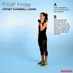 This One Hard-Core Lunge Will Sculpt Your Legs AND Abs  http://www.womenshealthmag.com/fitness/fitgif-offset-dumbbell-lunge?cid=OB-_-WH-_-AF