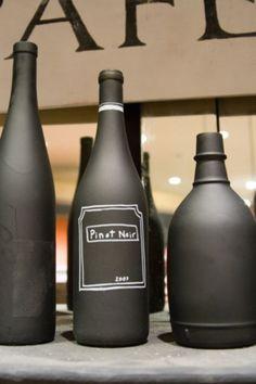 Use for empty wine bottle: Paint it with blackboard paint.