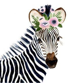 Cebra acuarela pinturas de animales jirafa cebra safari