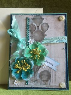 Birthday card handmade greeting with flowers by buttonsandbottles