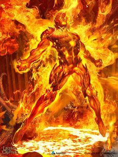 Born from flames this baby ifrit is going to rule! Legend of the Cryptids Copyright Applibot Inc. Ifrit the Ruiner - regular Dark Fantasy Art, Fantasy Creatures, Mythical Creatures, Fantasy Character Design, Character Art, Demon Art, Fire Art, Marvel Comic Character, Wow Art