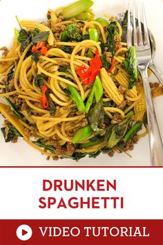 """This step by step instruction on video will show you the exact steps to do make these! """"Drunken noodles"""" or """"pad kee mao"""" is a popular Thai dish of spicy stir fried noodles with holy basil, but this version is made with spaghetti! 