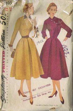 VINTAGE ONE PIECE DRESS 1950s SEWING PATTERN 8493 SIMPLICITY BUST 30 HIP 33 CUT | eBay