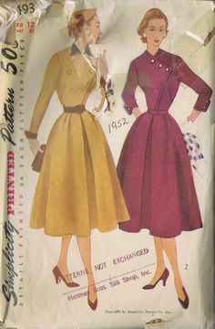 VINTAGE ONE PIECE DRESS 1950s SEWING PATTERN 8493 SIMPLICITY BUST 30 HIP 33 CUT | eBay