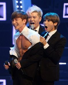 Leeteuk gets striped by Super Junior members~~ LOL, I love Ryeowooks face!