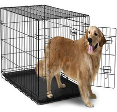 OxGord Dog Crate with Divider, Double-Doors Folding Pet Cage with Heavy Duty Metal Wires and Removable ABS Plastic Tray. Animal Kennel folds into a Carry Case w/ Handle - XXL: x x Black Dog Cages, Pet Cage, Xxxl Dog Crate, Extra Large Dog Crate, Large Dogs, Small Dogs, Crates For Sale, Cat Crate, Animales