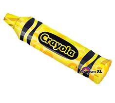 "43"" Crayola Yellow Crayon Mylar Foil Balloon"