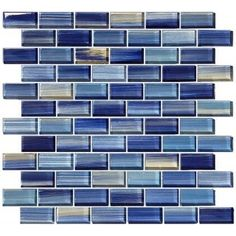 "Watercolors Blue 1"" x 2"" Glossy Glass Pool Tile"