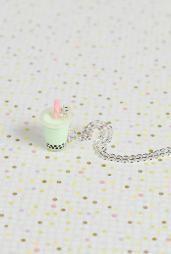 Bubble Bubble Boba Tea Charm Necklace in Honeydew Milk Tea #necklaces #accessories #boutique