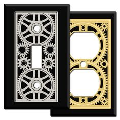 Mechanical Age Gears Switch Plates in Black - Kyle Design