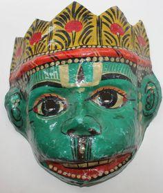 Vintage Paper Mache Mask Green Yellow Color God Hanuman Hand Made GO10 | eBay