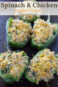 I love the flavor of stuffed peppers. And chicken adds a whole new twist. Spinach and Chicken Stuffed Peppers, a simple weeknight meal, healthy and delicious.