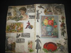 1875 LEDGER*SCRAPBOOK*VICTORIAN TRADE CARDS*NATIVE AMERICAN INDIAN LITHOGRAPHS
