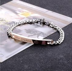 Designs Jewelry by CUPHERS Titanium Steel Bracelet For Lovers Romantic Couples Bangles Fashion Women Chain Bracelets Charm Ladies Jewelry Valentine's Gift - Brand Name: Abrray Jewelry King, Hand Jewelry, Jewelry Gifts, Couple Bracelets, Bracelets For Men, Fashion Bracelets, Link Bracelets, Bracelet Men, Charm Bracelets