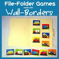 Make your own File Folder Games using wall-borders! Easy & fun for preschoolers. : Make your own File Folder Games using wall-borders! Easy & fun for preschoolers. File Folder Activities, File Folder Games, File Folders, Preschool Age, Preschool Activities, Church Activities, Preschool Printables, Bulletin Board Borders, Bulletin Boards