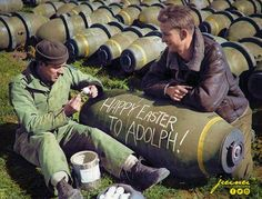 """Happy Easter !"" Two US Air force ground crew painting eggs and writing Happy Easter greetings to 'Adolf' Hitler on an AN-M65 1,000-lb (454 kgs) bomb in Southern Italy, April 1944. (Colorised by Paul Kerestes from Romania)"