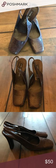 VIA Spiga Sling Back Heels A sleek squared toe defines a kitten heel slingback. Via Spiga Shoes Heels