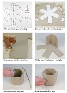 Don Hall shows how to make a slab-clay hexagonal box, with a hexagonal lid (formed from triangles). He also suggests how to make your own angled wire cutter.