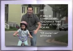 "ART 7: It will me compulsory to change that ""I can't"" attitude for an ""Of course I can"" attitude :-)"