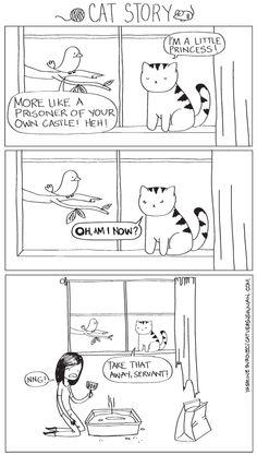 cat versus human...great cartoons documenting life as a cat servant