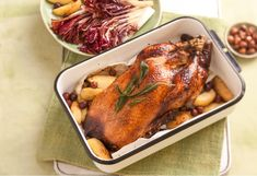 Just as the seasons change and the temperature begins to drop, keep warm with a lovely roasted duck with apples and hazelnuts.