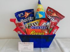 for work? Birthday Candy, Diy Birthday, Birthday Gifts, Candy Baskets, Gift Baskets, Goodie Basket, Aunt Betty, Employee Gifts, Candy Bouquet