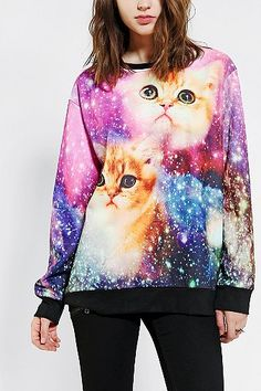 Galactic Cats Pullover Sweatshirt | Urban Outfitters | Apparel designer Winston Parker