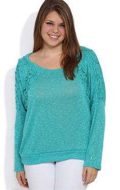 Plus Size Long Sleeve Dolman Top with Flower Crochet on Shoulders