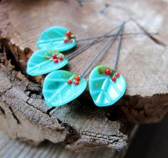 Turquoise Glass Leaves HeadPins set Lampwork Flower Bead Leaf supplie | Jewelry-Findings-Supplies - Handmade Supplies on