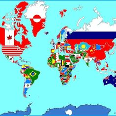 Here is a map of the world made out of flags. Each flag is scaled to match the size of the nation it represents. Countries And Flags, Countries Of The World, World Cultures, All Flags, Flags Of The World, Patriotic Symbols, International Flags, Road Trip Map, New Fantasy