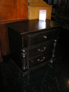 This All Black 3 Drawer Nightstand Is Available At Ubberhaus For $70.  Measures 28