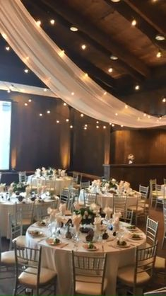 String Lights Outdoor Wedding - New ideas Barn Wedding Decorations, Wedding Ideas, Wedding Songs, Rustic Barn Weddings, Chair Decor Wedding, Wedding Ballroom Decor, Gym Wedding Reception, Ceiling Draping Wedding, Wedding Centerpieces